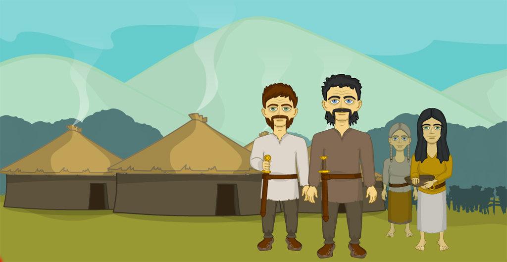 Celtic Settlement illustration / Dearadh de lonnaíocht Cheilteach / Picthur o a Kelt's Toon