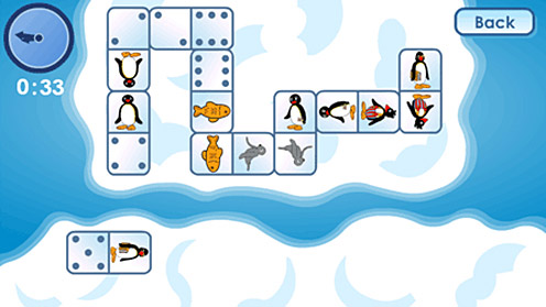 Pingu and dominoes game