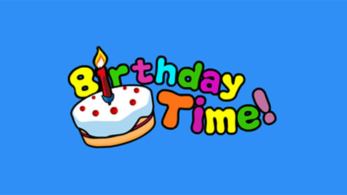 Birthday cake and Birthday Time splash text