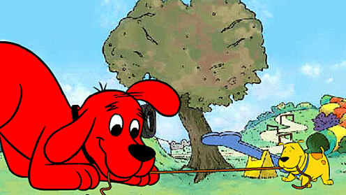 Clifford and T-Bone in tug-of-war