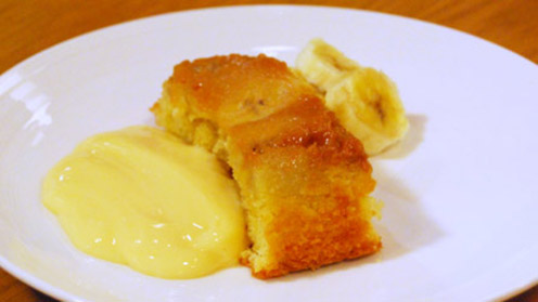 Banana and toffee pudding on plate