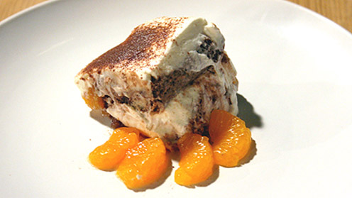 Chocolate and mandarin pudding