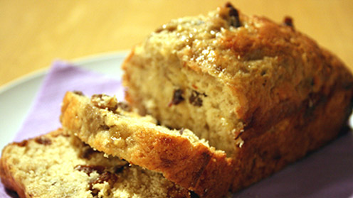 Sliced chunky banana bread
