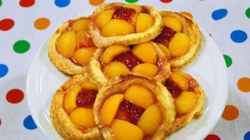 Seven tarts on plate