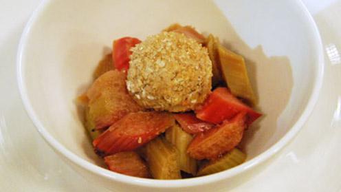 Rhubarb cobbler in bowl