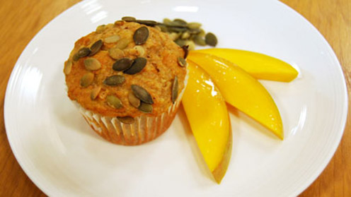 Sunshine muffin with fruit and nuts