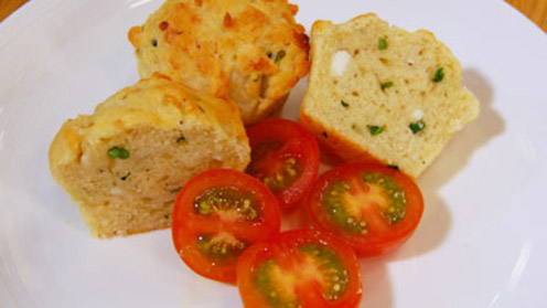 Three cheese & cress muffins with tomatoes