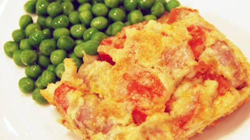 Toad in the hole with peas