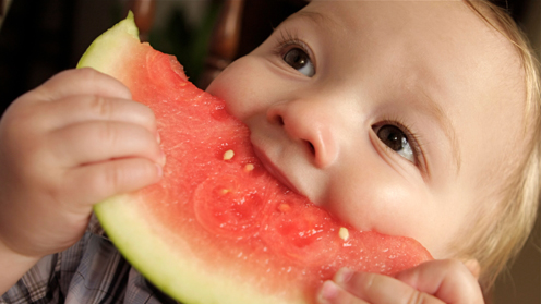 Child eating slice of watermelon