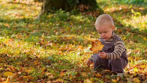 Child with leaf outdoors