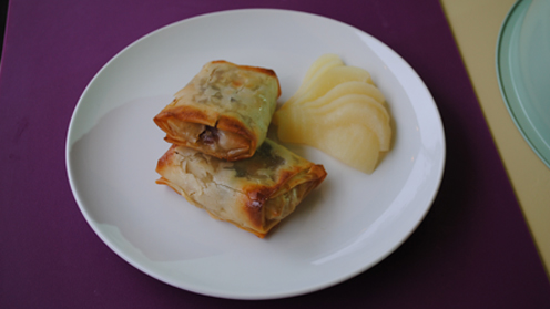 Fruity Filo Parcels on a table