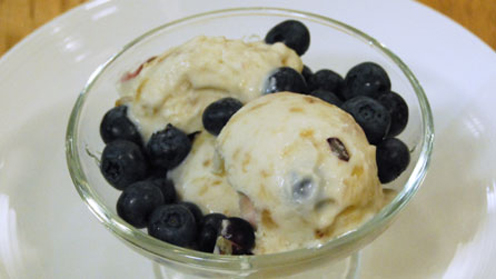Banana and blueberry ice cream