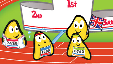 A picture of CBeebies Bugs running in a relay race.