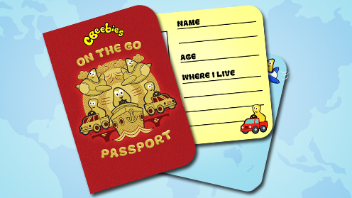 The CBeebies on the go passport and stickers