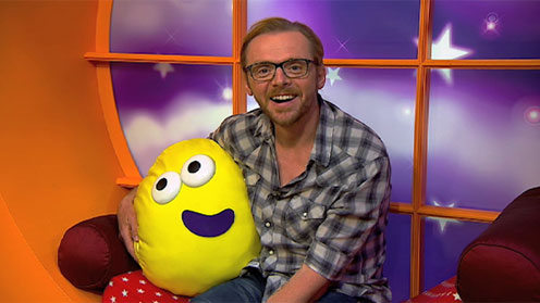 Simon Pegg in the CBeebies house