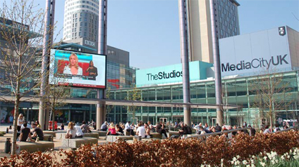 The piazza at MediaCityUK on a sunny day