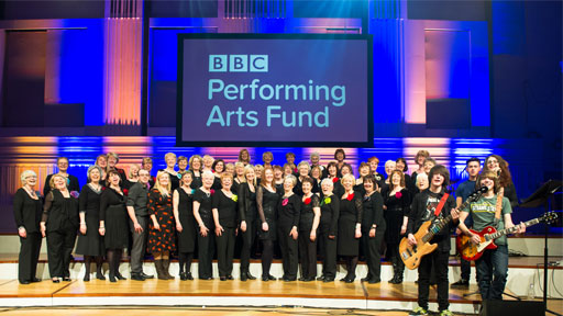 Performers at the recent BBC Performing Arts Fund event, with the Fund's logo