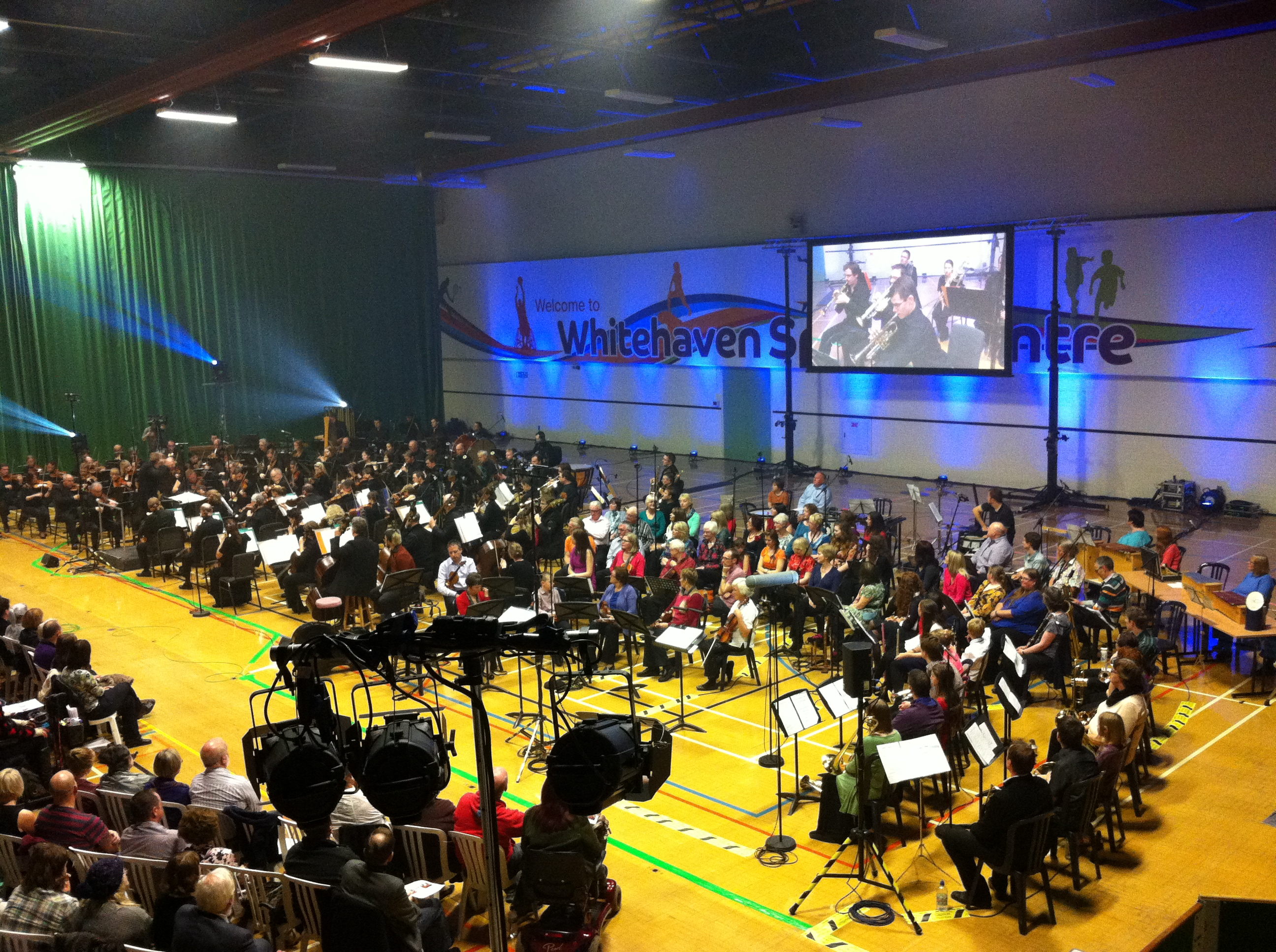View of the Cumbrian Community Orchestra and Choir performing alongside the BBC Philharmonic Orchestra