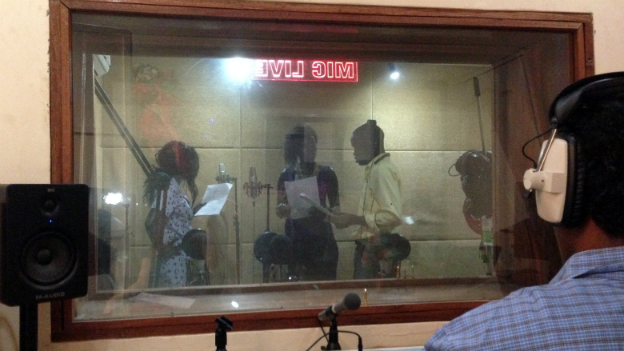 Actors record BBC Media Action radio drama in South Sudan, Life in Lulu.