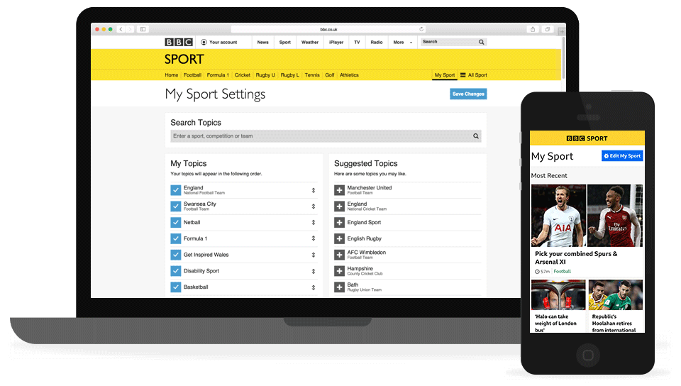 My Sport shown on mobile and tablet