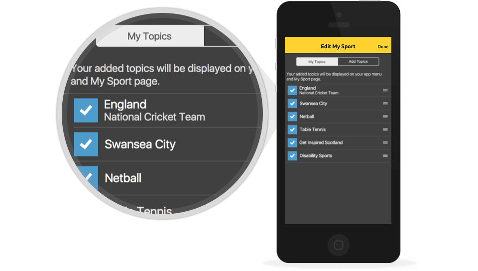 My Sport settings screen